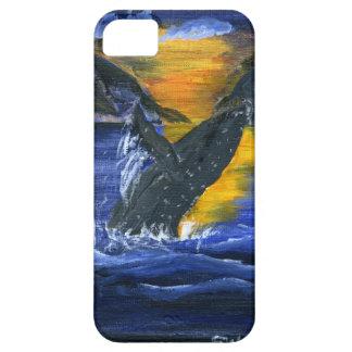 Ballena jorobada en la puesta del sol iPhone 5 carcasa