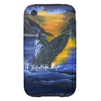 Ballena jorobada en la puesta del sol iPhone 3 tough cárcasas