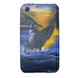 Ballena jorobada en la puesta del sol iPhone 3 protector