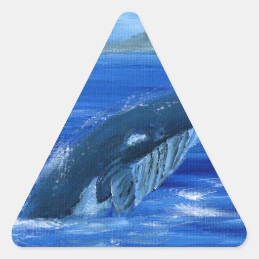 Ballena jorobada pegatina triangulo personalizadas