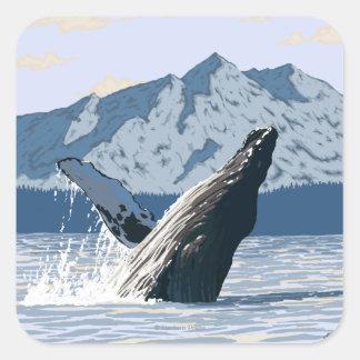 Ballena jorobada - Seward, Alaska Pegatina Cuadrada