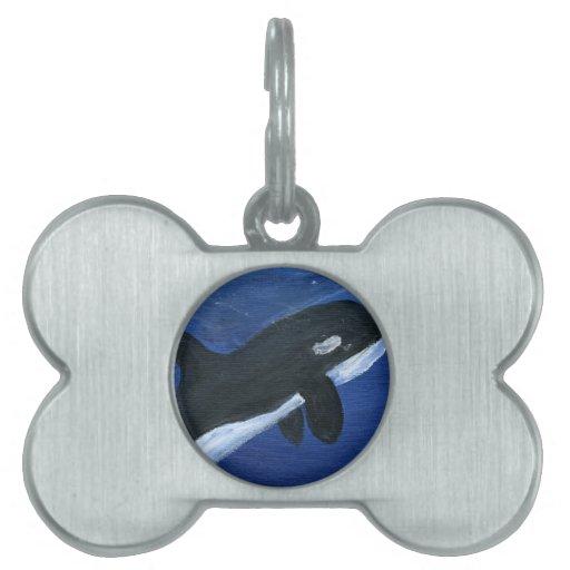Ballena linda de la orca placas de mascota