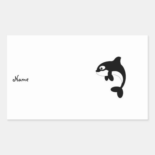 Ballena linda de la orca rectangular pegatinas