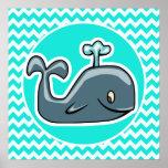 Ballena linda en la turquesa, color Chevron de la  Poster