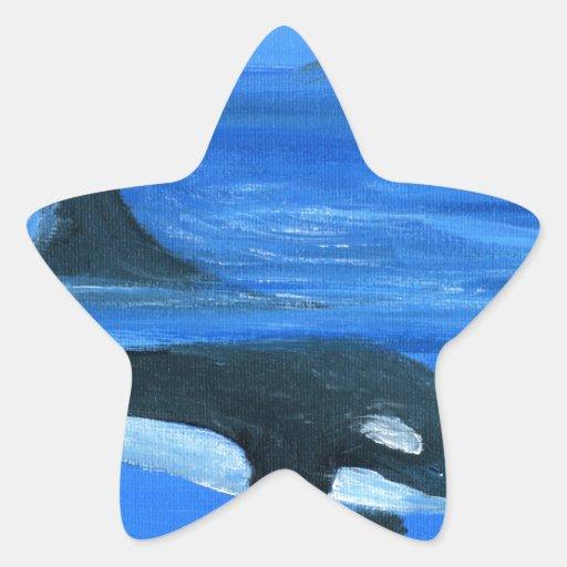 Ballena majestuosa de la orca calcomania cuadrada personalizada