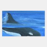 Ballena majestuosa de la orca rectangular pegatina