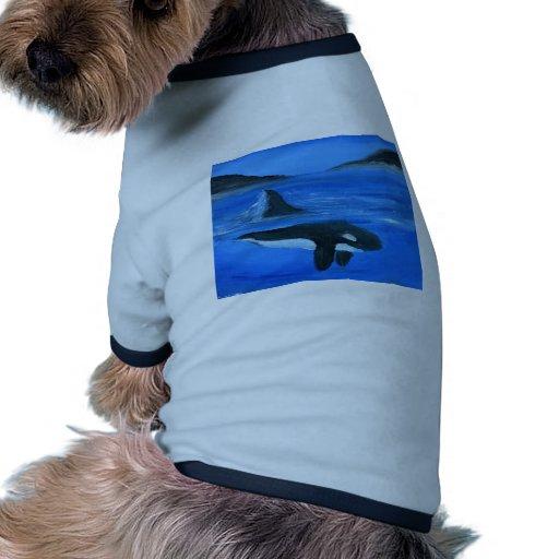 Ballena majestuosa de la orca camiseta con mangas para perro
