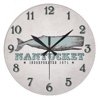 Ballena Nantucket Massachusetts inc. 1671 del Reloj Redondo Grande