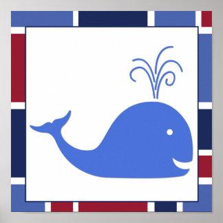 Ballena náutica del cuarto de niños de la onda poster