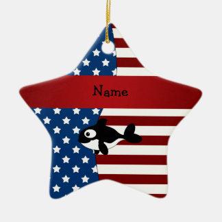Ballena patriótica conocida personalizada adorno navideño de cerámica en forma de estrella
