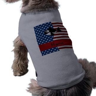 Ballena patriótica conocida personalizada playera sin mangas para perro