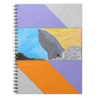 Ballena, pescados, y los elementos spiral notebooks