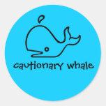ballena preventiva pegatina redonda