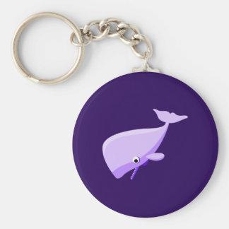 Ballena púrpura del dibujo animado llavero redondo tipo pin