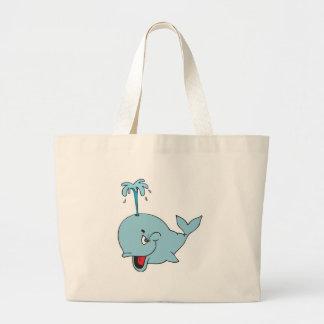 ballena que echa en chorro linda bolsa tela grande