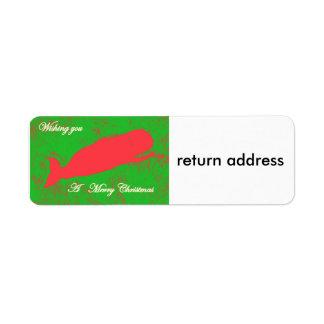 ballena roja en etiqueta verde del remite etiqueta de remitente