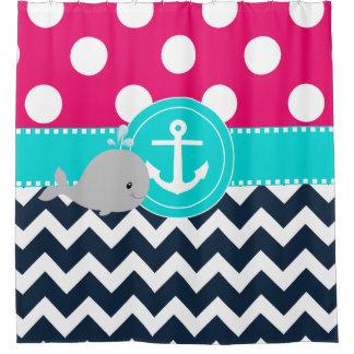 Ballena rosada de la marina de guerra del trullo cortina de baño