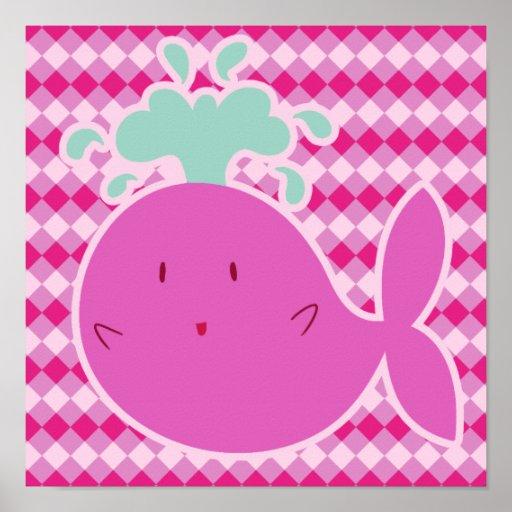 Ballena rosada linda del dibujo animado póster