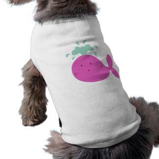 Ballena rosada linda del dibujo animado camisetas de mascota