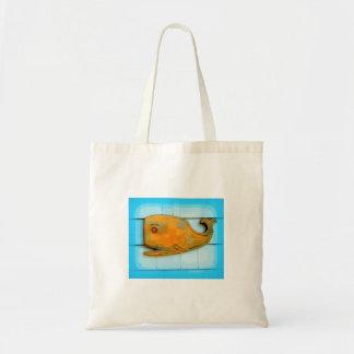 ballena sonriente del arte popular bolsa tela barata