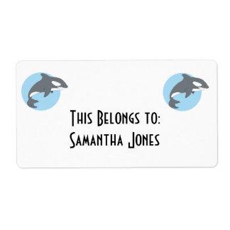 ballena triste de la orca etiquetas de envío