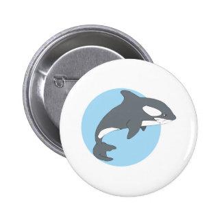 ballena triste de la orca pin redondo de 2 pulgadas