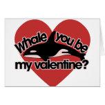 Ballena usted sea mi tarjeta del día de San Valent