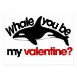 Ballena usted sea mi tarjeta del día de San Valent Postal