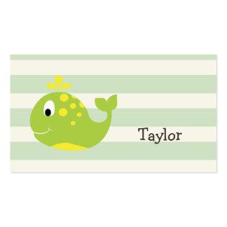 Ballena verde y amarilla en rayas verdes en tarjetas de visita