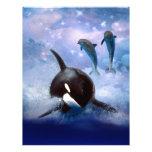 Ballena y delfínes soñadores membrete a diseño