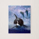 Ballena y delfínes soñadores rompecabezas con fotos