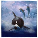 Ballena y delfínes soñadores servilletas imprimidas