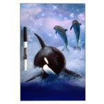 Ballena y delfínes soñadores tablero blanco