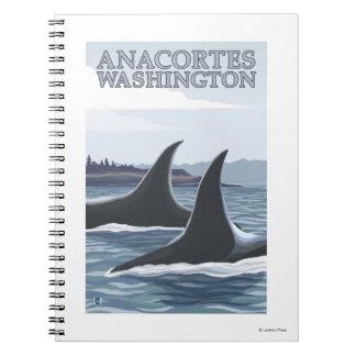 Ballenas #1 - Anacortes, Washington de la orca Libros De Apuntes