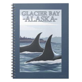 Ballenas #1 - Glacier Bay, Alaska de la orca Libro De Apuntes Con Espiral