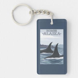 Ballenas #1 - home run, Alaska de la orca Llavero Rectangular Acrílico A Doble Cara