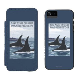 Ballenas #1 - isla de San Juan, Washington de la Funda Billetera Para iPhone 5 Watson