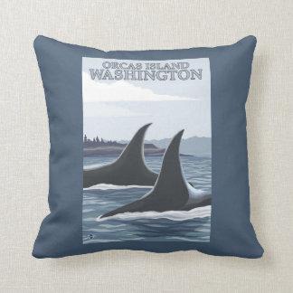 Ballenas #1 - orcas isla, Washington de la orca Cojin