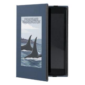 Ballenas #1 - orcas isla, Washington de la orca iPad Mini Carcasas
