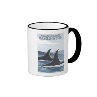 Ballenas #1 - orcas isla, Washington de la orca Taza De Dos Colores