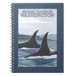 Ballenas #1 - puerto de viernes, Washington de la Cuaderno