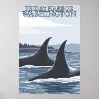 Ballenas #1 - puerto de viernes, Washington de la  Posters