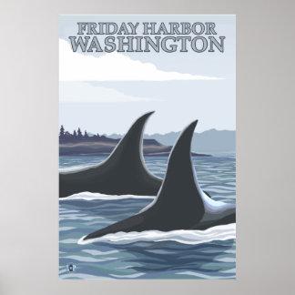 Ballenas #1 - puerto de viernes, Washington de la  Poster
