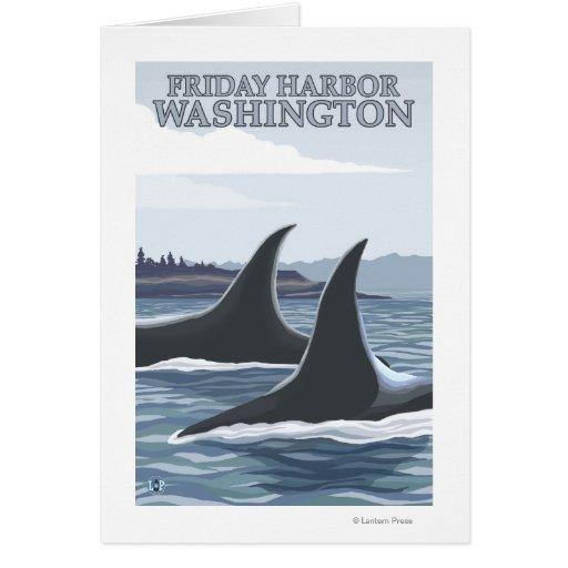 Ballenas #1 - puerto de viernes, Washington de la  Tarjeta De Felicitación