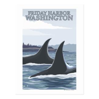 Ballenas #1 - puerto de viernes, Washington de la Tarjeta Postal