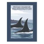 Ballenas #1 - puerto de viernes, Washington de la Tarjetas Postales
