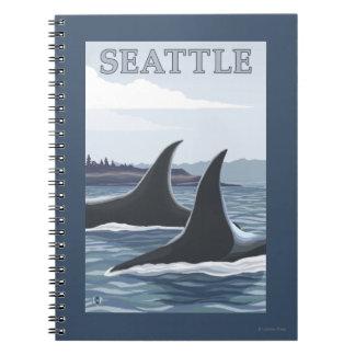 Ballenas #1 - Seattle, Washington de la orca Libro De Apuntes Con Espiral