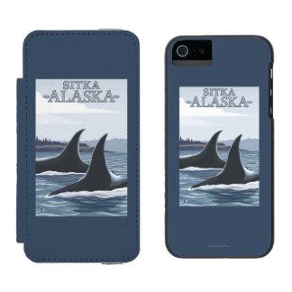 Ballenas #1 - Sitka, Alaska de la orca Funda Billetera Para iPhone 5 Watson