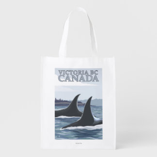 Ballenas #1 - Victoria, A.C. Canadá de la orca Bolsa Reutilizable