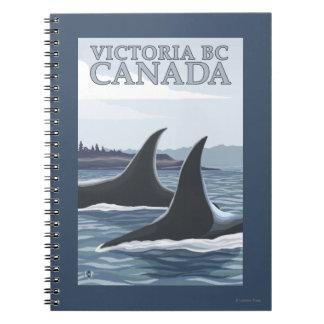 Ballenas #1 - Victoria, A.C. Canadá de la orca Cuadernos